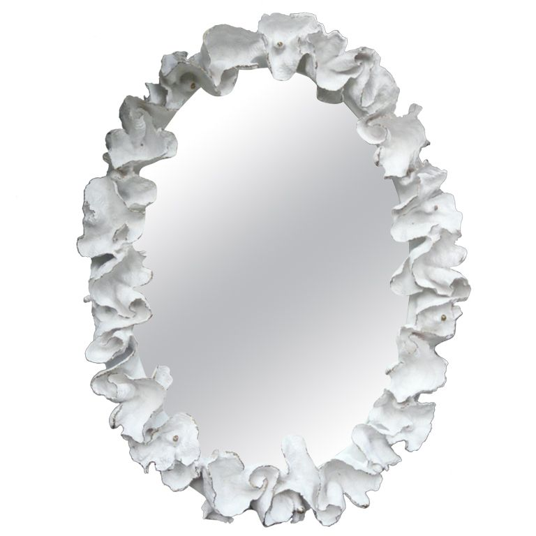 Huge Vintage Oval Mirror Of Plaster Cast Cup Coral In The Manner Of Serge Roche 1stdibs Com Oval Mirror Mirror Mirror Wall