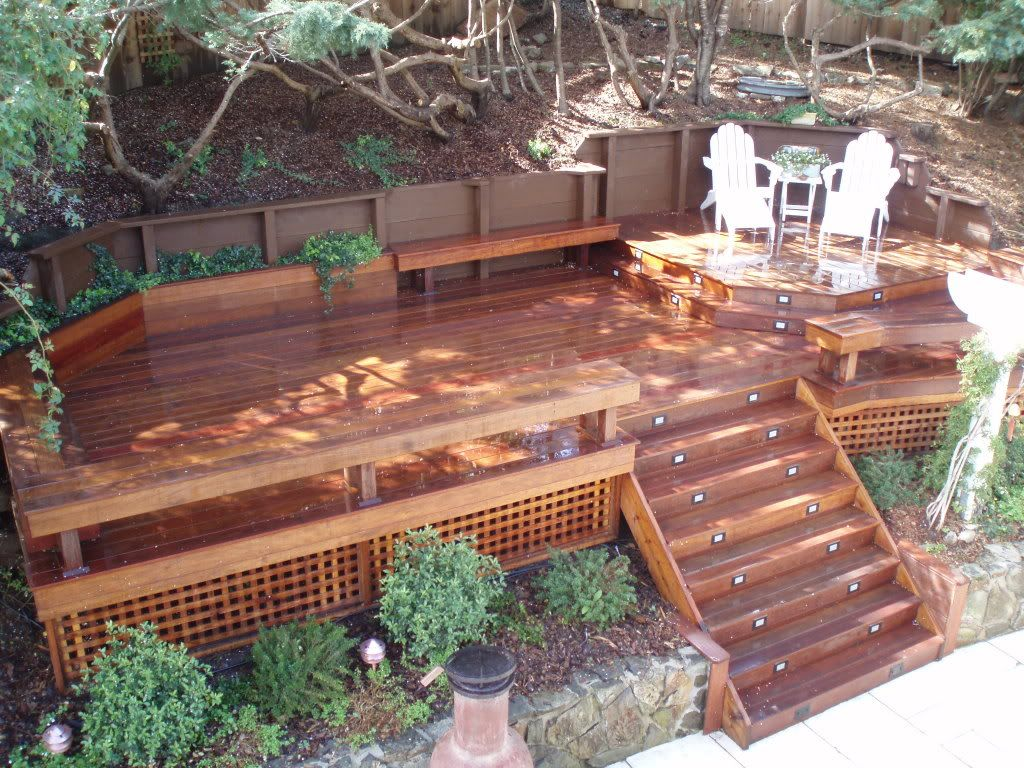 Ipe deck steps benches storage benches planters for Garden decking planters