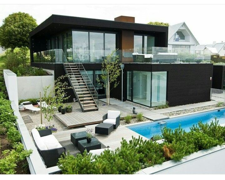 Ideen · Cool Container Home, Pool, Garden Layout