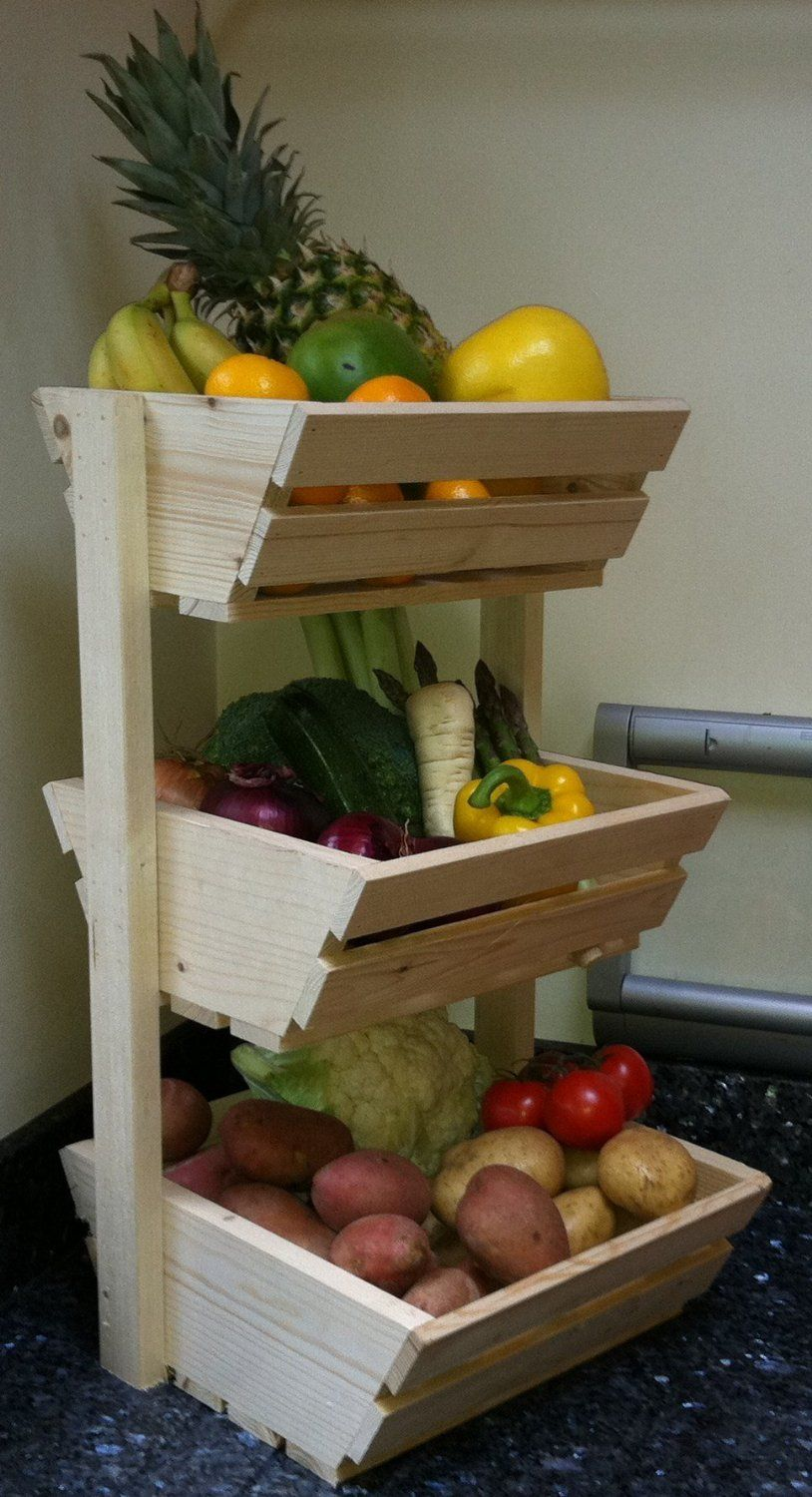 handmade wood decor fruit and veggie holder woodworking home three tier vegetable rack: Amazon.co.uk: Kitchen u0026 Home