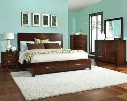 This storage bed is the perfect way to maximize your space - I'm loving the hardware here, too! ($898 for three piece set)