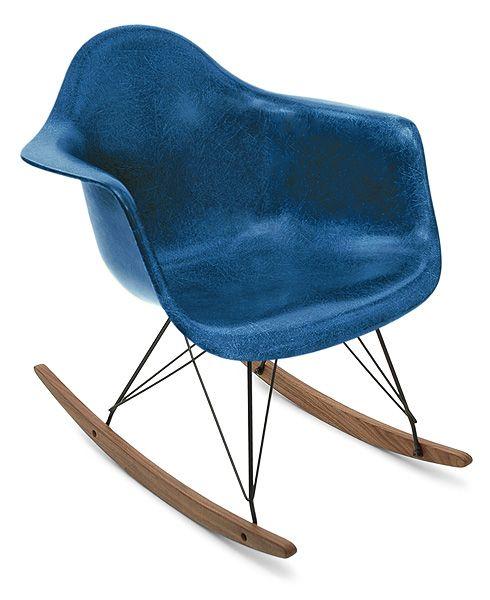 indigo fibreglass shell chair with walnut rocker base