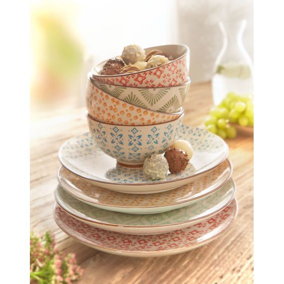 Keramik Teller Set Retro 4 Tlg Bunt Keramik 11
