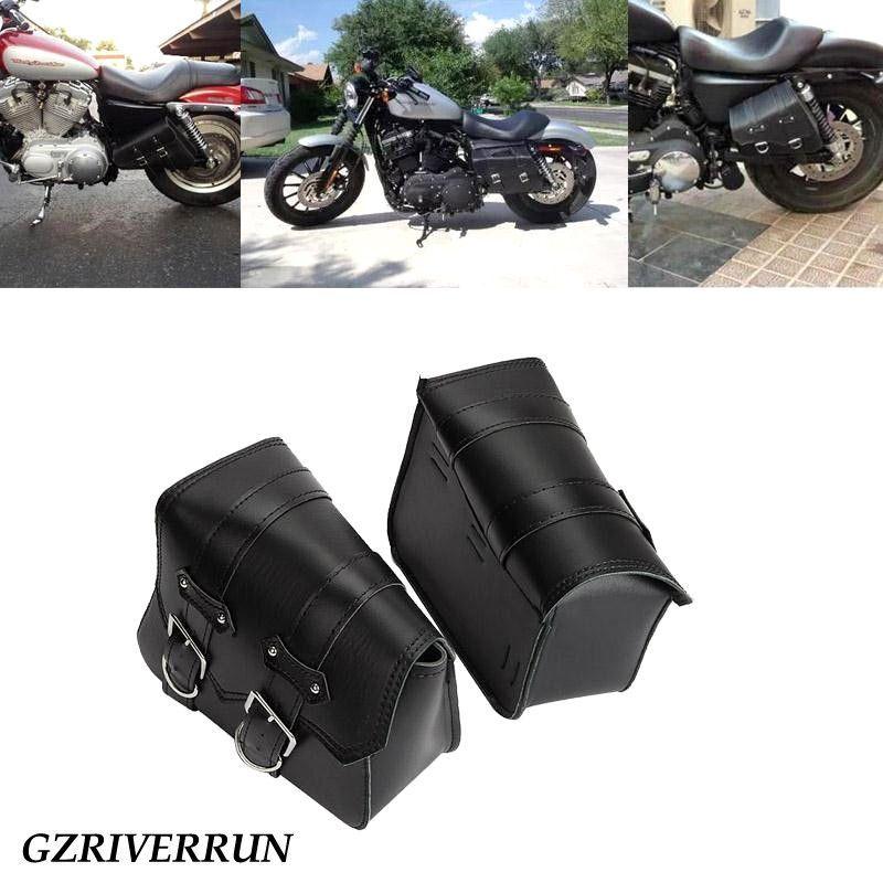 8a2f274087fc 2X Black PU Leather Motorcycle Luggage Tool Side Bag Saddlebag For Harley  Davidson Sportster XL 883