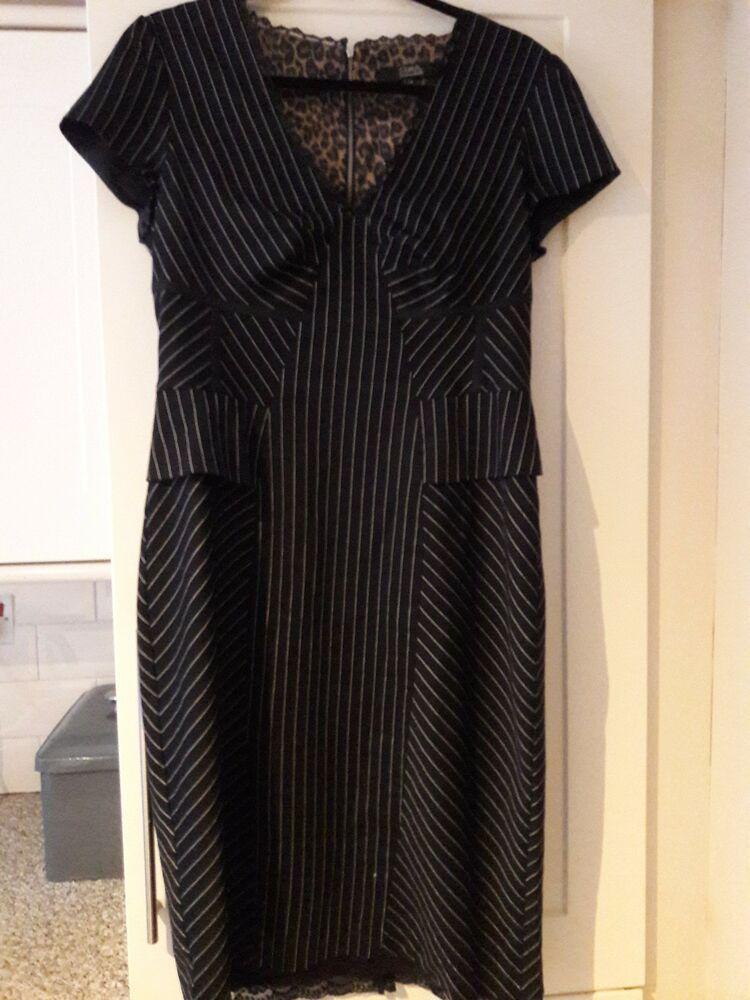 acf73574468 Womens Star by Julian MacDonald pinstripe corset dress size 14 lgh 42  flattering  fashion