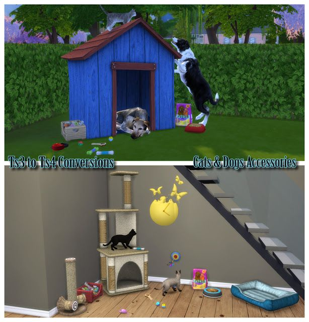 The Best Ts3 To Ts4 Cats Dogs Accessories Conversions By Enuresims The Sims Sims 4 Sims