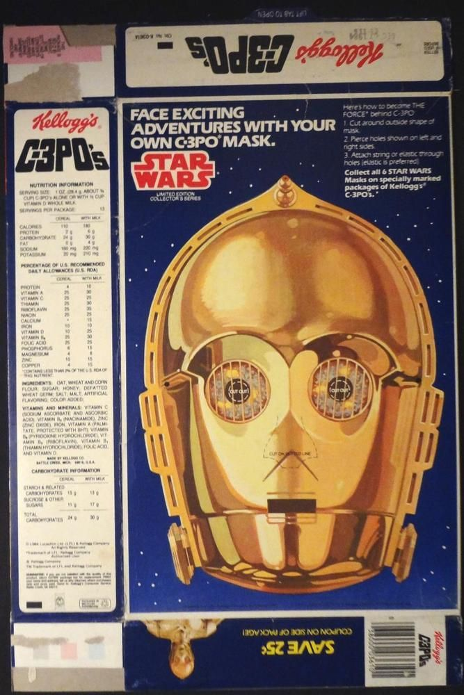 Vintage 1984 Kellogg S Star Wars C 3po Cereal Box With C 3po Mask Rare Uncut Vintage Packaging Kelloggs Vintage