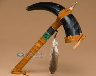 "Native American Horn Rattle 11"""" -Navajo (151)"