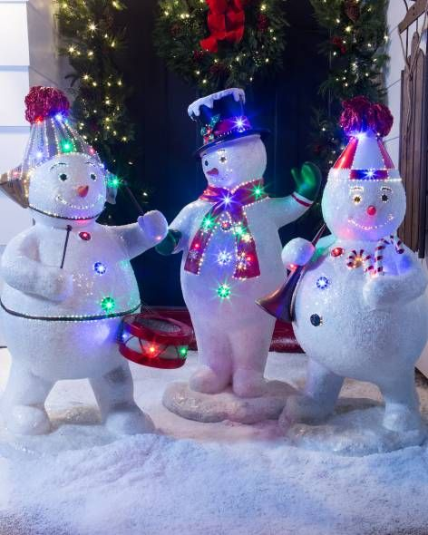 outdoor fiber optic snowman band by balsam hill