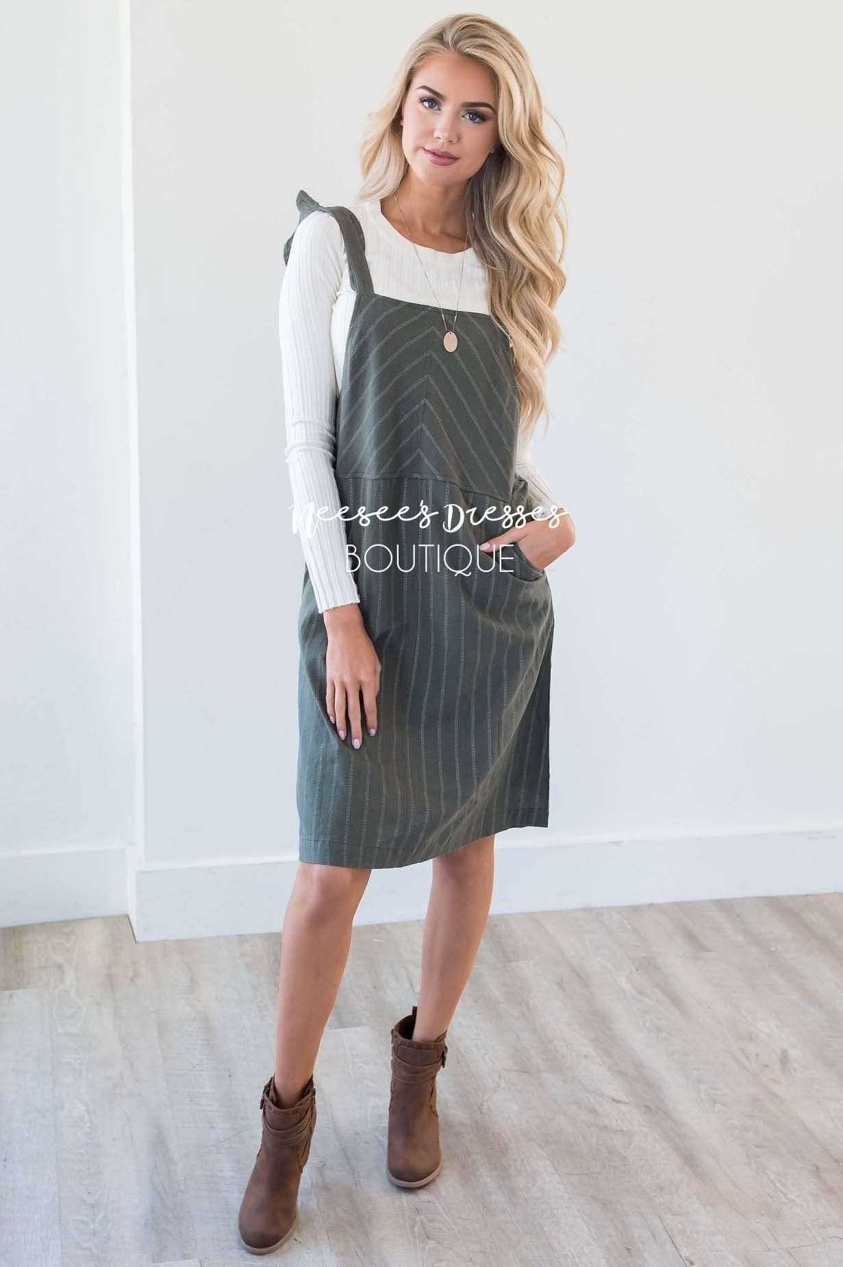 81ca25fe2f Olive Pinstripe Overall Pocket Dress Modest Dress