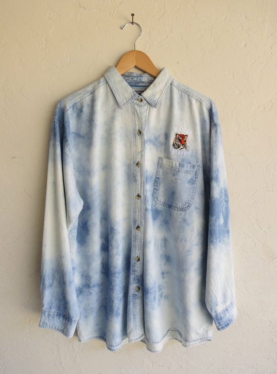 Hazed Tie Dyed Tiger Denim Shirt by rerunvintage on Etsy, $91.00