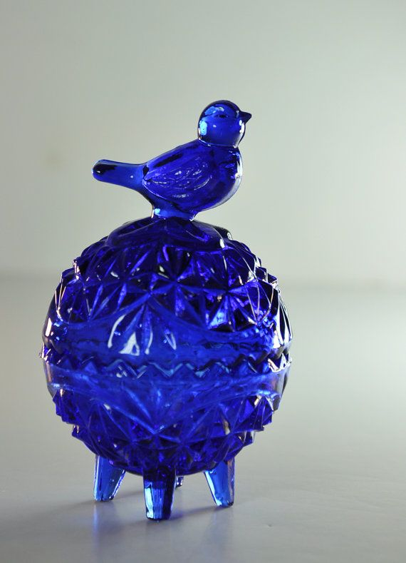 Vintage COBALT Blue Glass Mini BIRD Covered by SoulfulOfferings