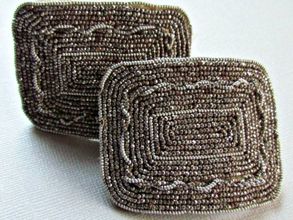 Antique French Shoe Buckles Steel Cut Beaded Clips 1800s