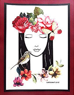Wall Art  Rose Crown  Drawing Collage by LakasoArt on Etsy Home decor hippie bohemian decorating