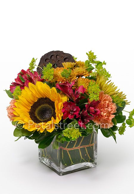 Small fall flower arrangement with sunflower mums and Fall floral arrangements
