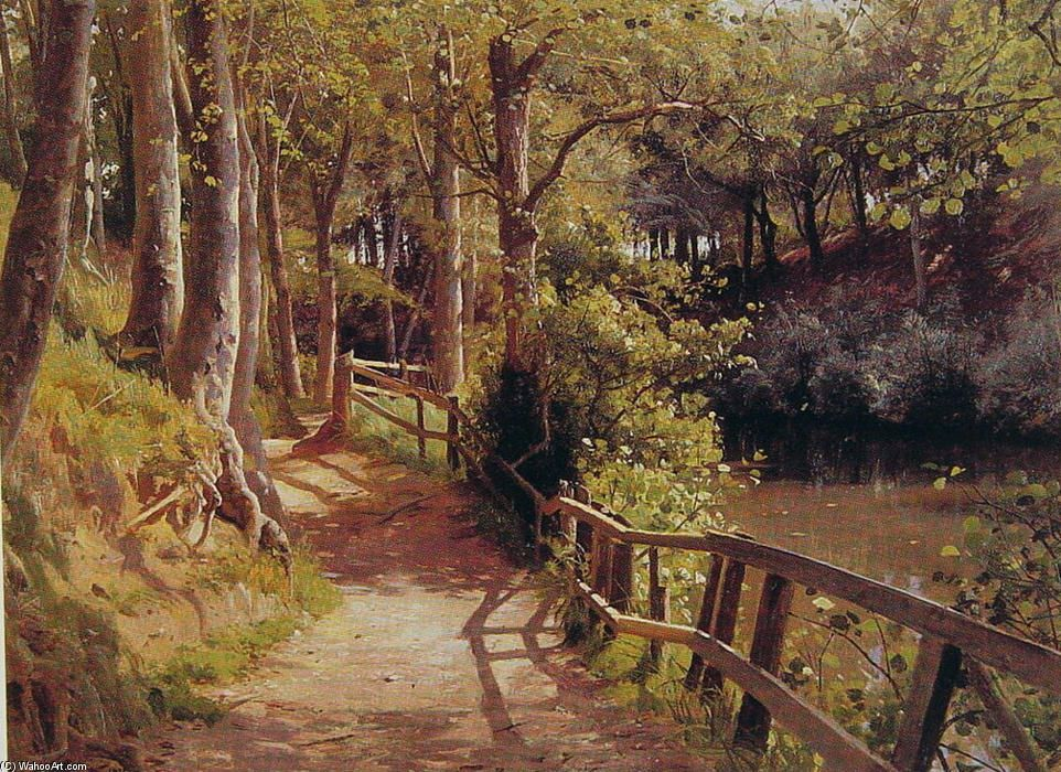 'la foresta percorso', olio di Peder Mork Monsted (1859-1941, Denmark)