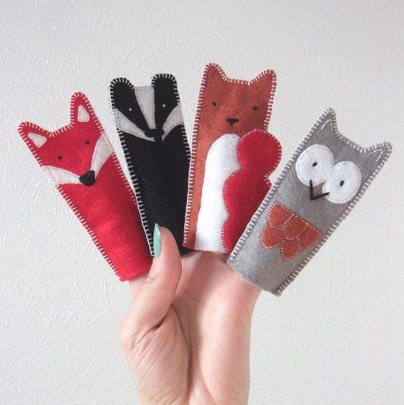 woodland animal felt finger puppets gifts fingerpuppen. Black Bedroom Furniture Sets. Home Design Ideas