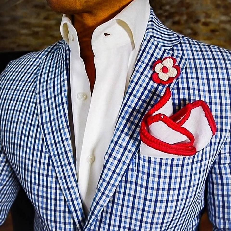 Grooms plaid sports coat and red white and blue wedding th of july