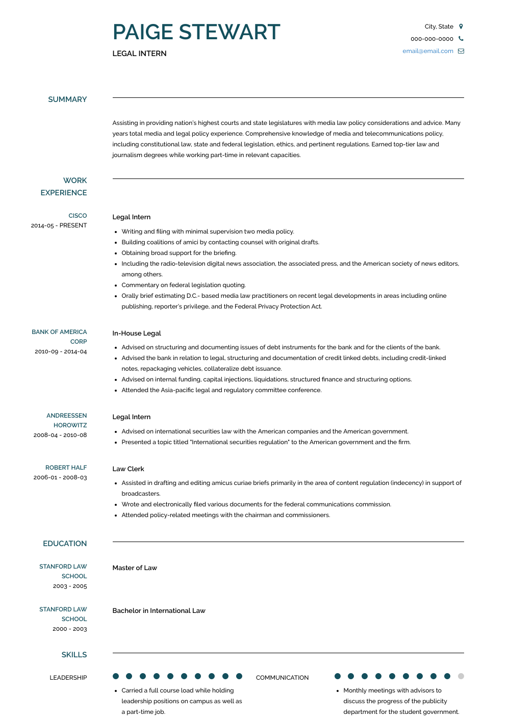Legal Intern Resume Sample Resume, Marketing jobs, Work