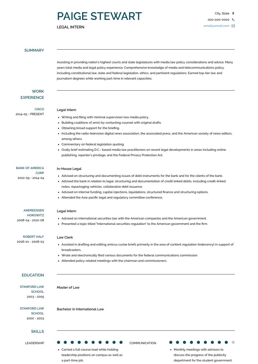 Legal Intern Resume Sample Resume Templates Resume Resume Template Professional
