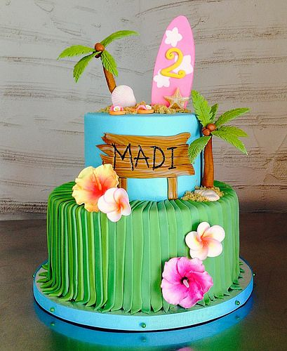 Peachy Hawaiian Beach 2Nd Birthday Cake With Images Luau Birthday Personalised Birthday Cards Cominlily Jamesorg