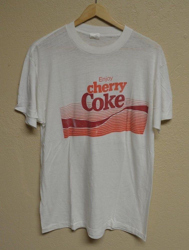 1d268fc8955 Vintage VTG 80 s Enjoy Cherry Coke Classic Coca-Cola T-Shirt size XL