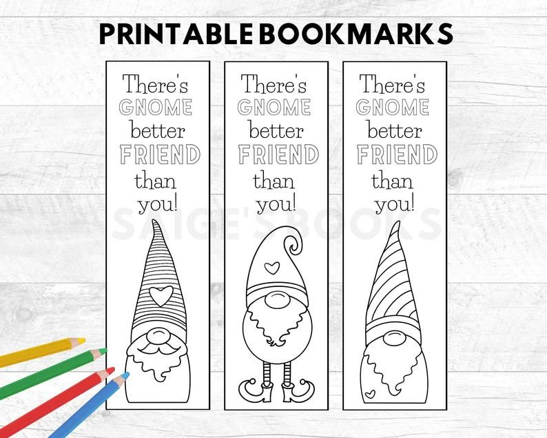 Printable Gnome Bookmark Gnome Valentine Cards Coloring