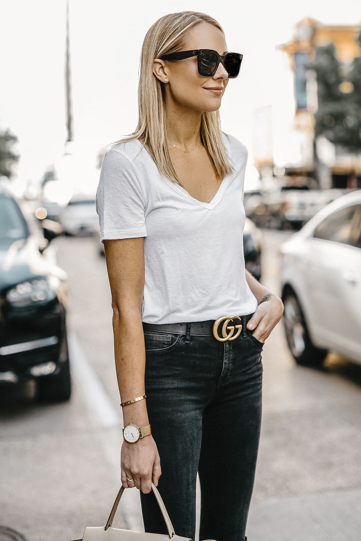7187dcca210 Blonde Woman Wearing White Tshirt Gucci Marmont Belt Black Skinny Jeans  Fashion Jackson Dallas Blogger Fashion Blogger Street Style