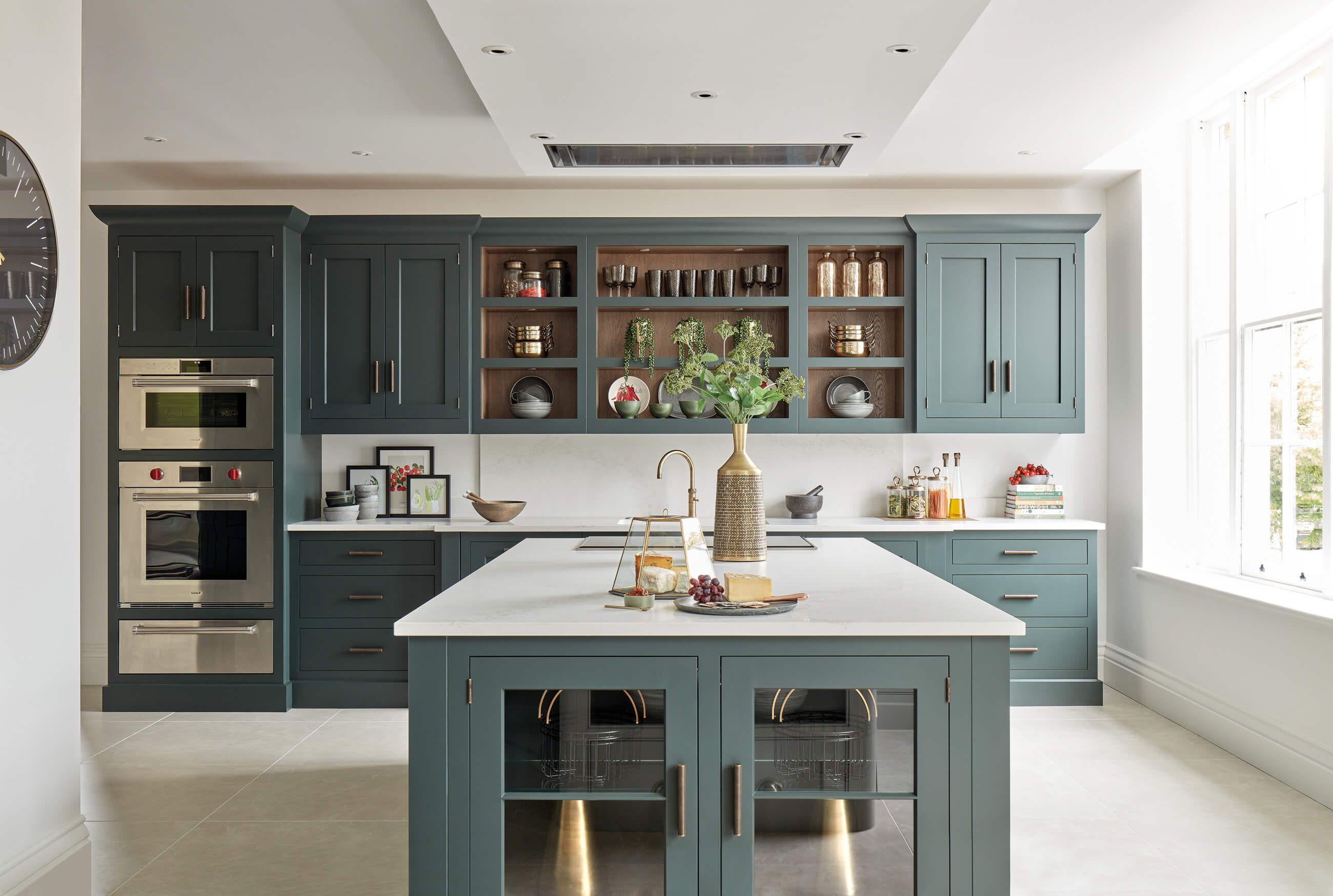 dark green kitchen  luxury fitted kitchens  tom howley