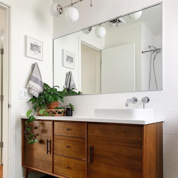 Mid Century Media Console 58 Bathroom Decor Bathroom Design Bathrooms Remodel