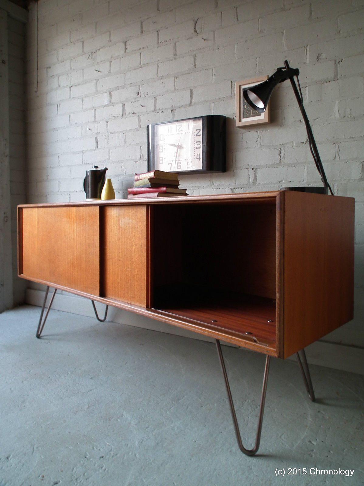 Vintage Retro Teak 60s G Plan Sideboard Industrial Hairpin Legs Danish Nathan Ebay