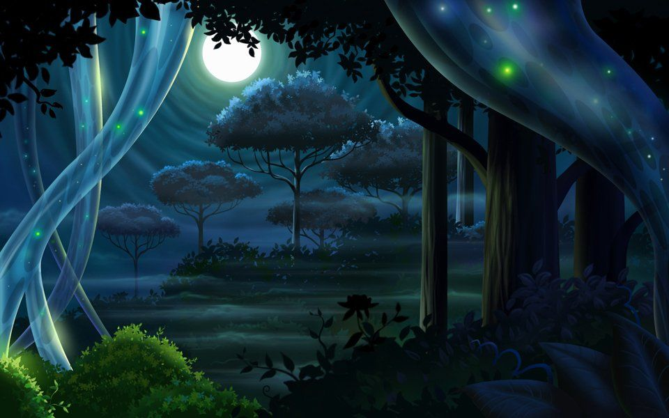 Night Forest By Derek Mccaughan Fantasy Art Landscapes Night Landscape Game Background Art