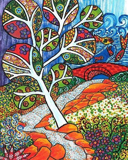 Ruscello ~ by Debra Purcell,  acrylic