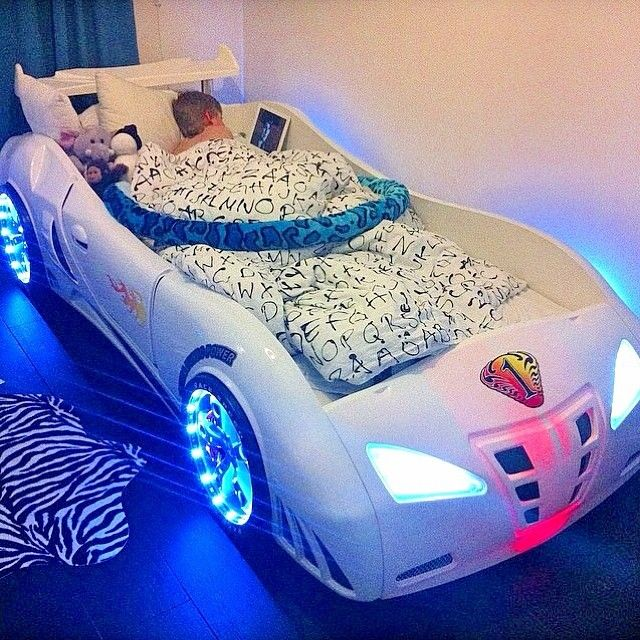 Light Up Car Bed For A Little Boy This Looks So Cool Kids Car