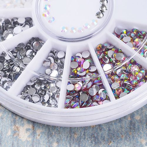 DIY 3D Nail Art Tips Decoration Charms Round Wheel Crystal Glitter  Rhinestones  Affiliate 3868d388b5f7
