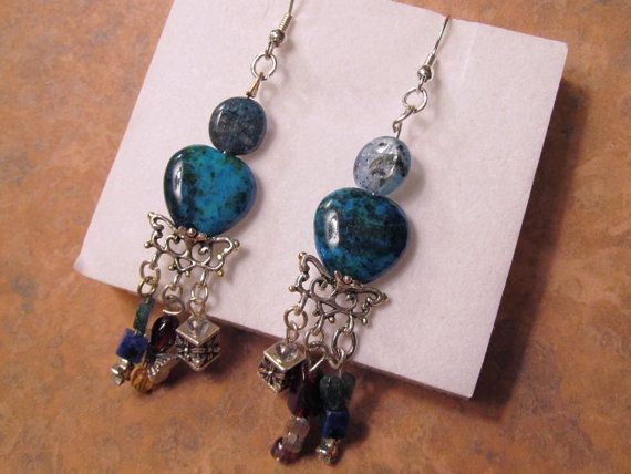 #Turquoise and Blue Shell Bead #Earrings by RomanticThoughts, $18.00