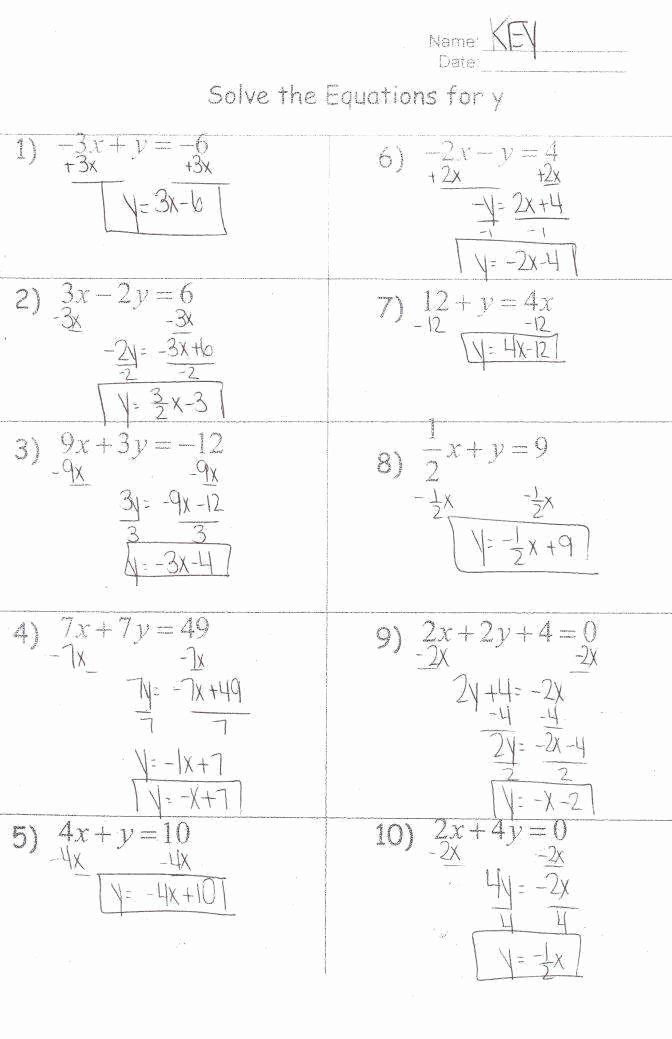 Literal Equations Worksheet Answers Fresh solving Literal