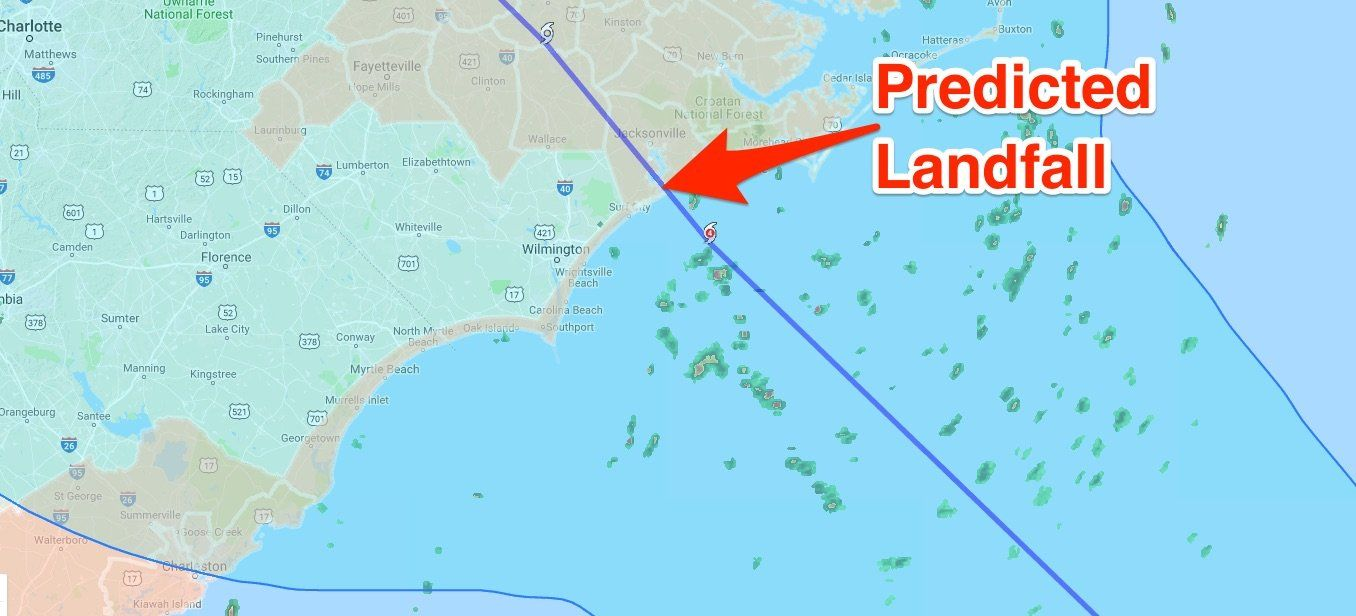 Here S Where Hurricane Florence Is Due To Make Landfall According To The Latest Prediction Hurricane Predictions Will Smith