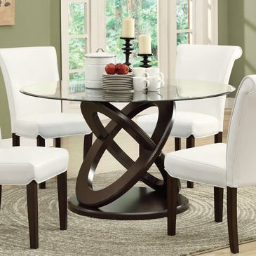 Monarch Specialties I 1749 Dark Espresso 48 Inch Dia Tempered Glass Dining Table Glass Round Dining Table Glass