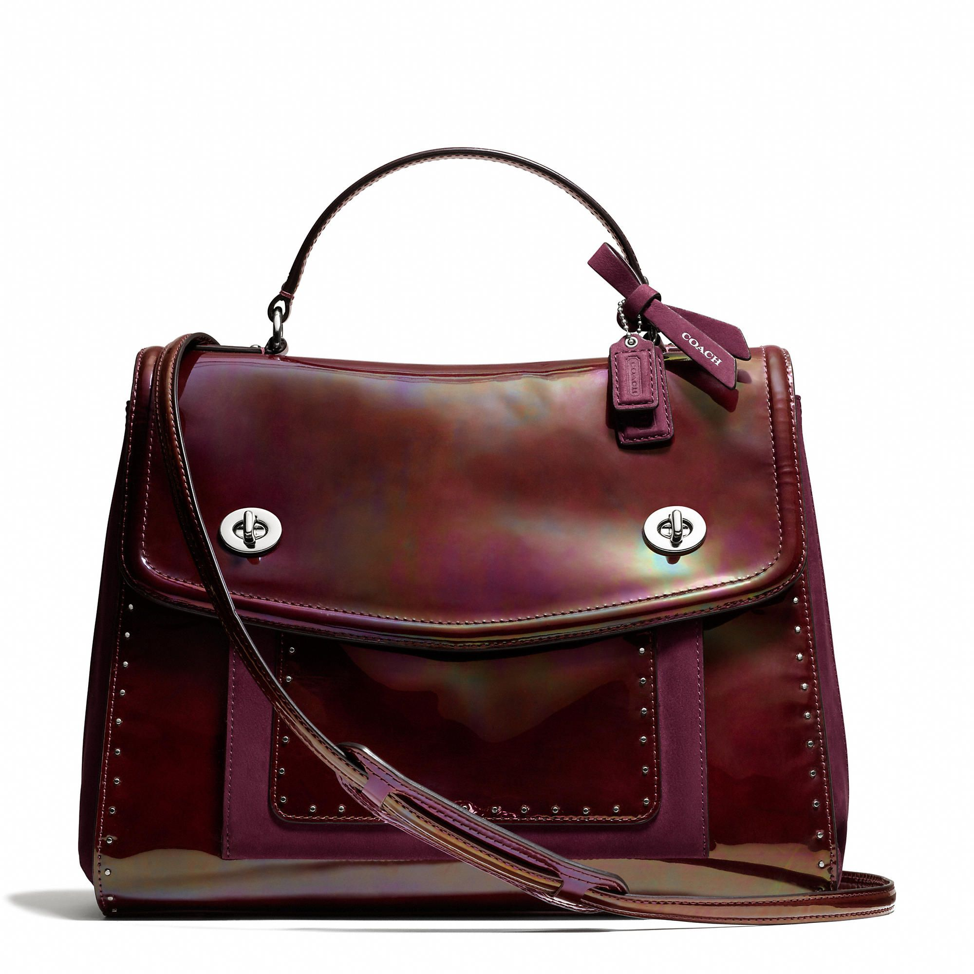 e02e2152042d Coach Poppy Editorial Victoria Satchel In Studded Leather - ShopStyle