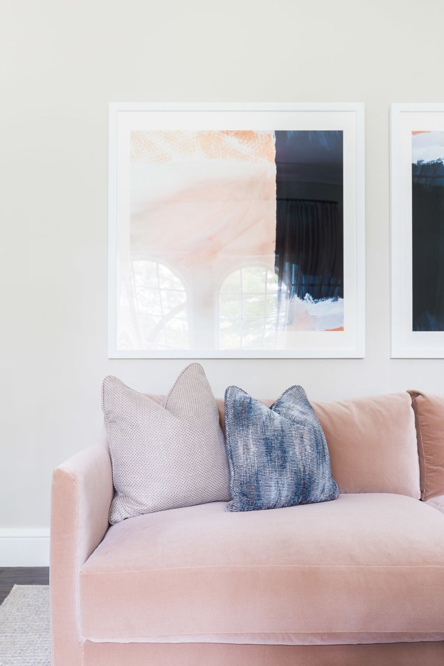 How to Rock Not One but Two Pink Sofas in Your Home | Suede couch ...