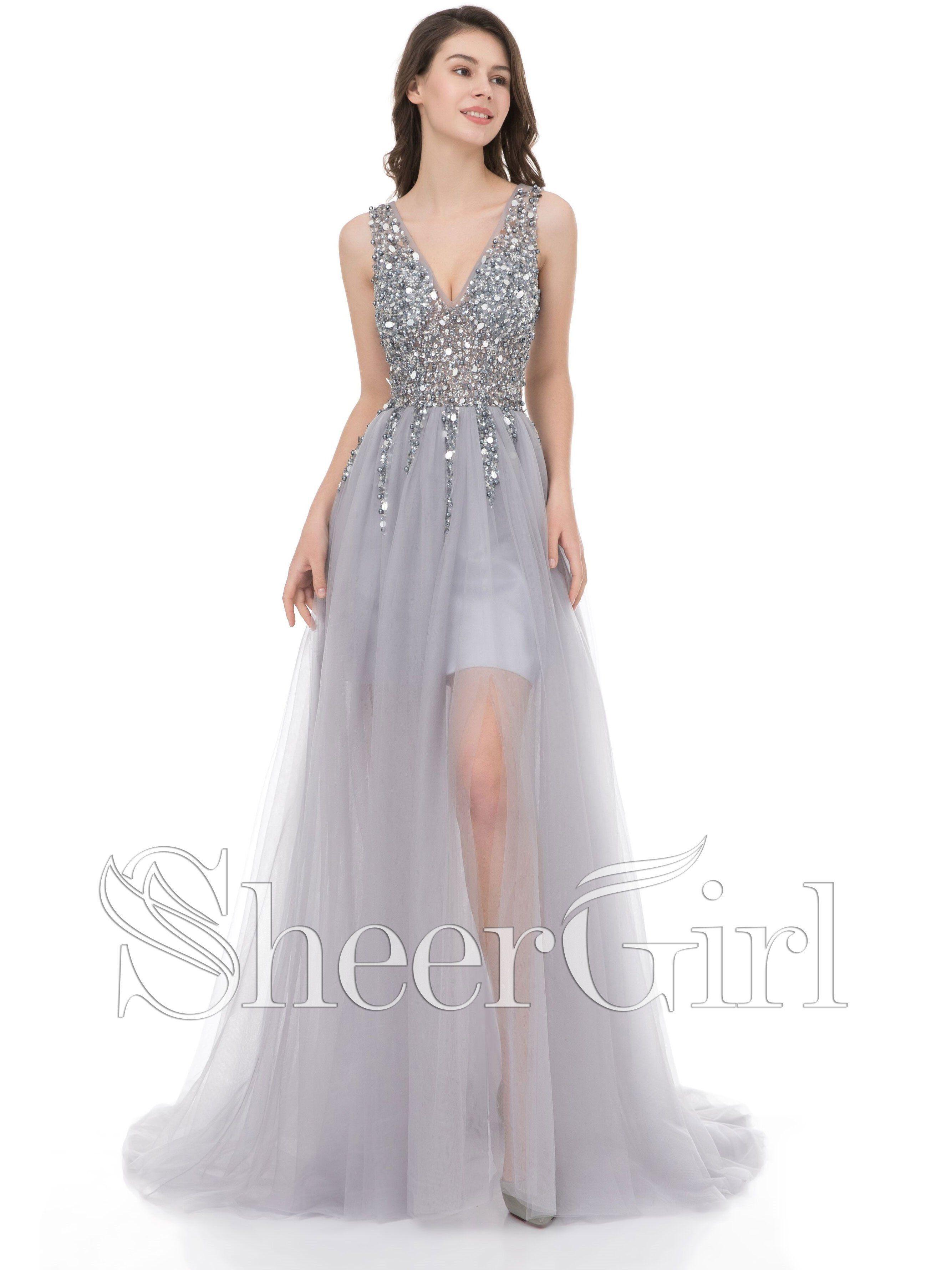 a5099e8b7cb6 A-line V-neck Beaded Tulle Long Prom Dresses Burgundy Prom Dress ...