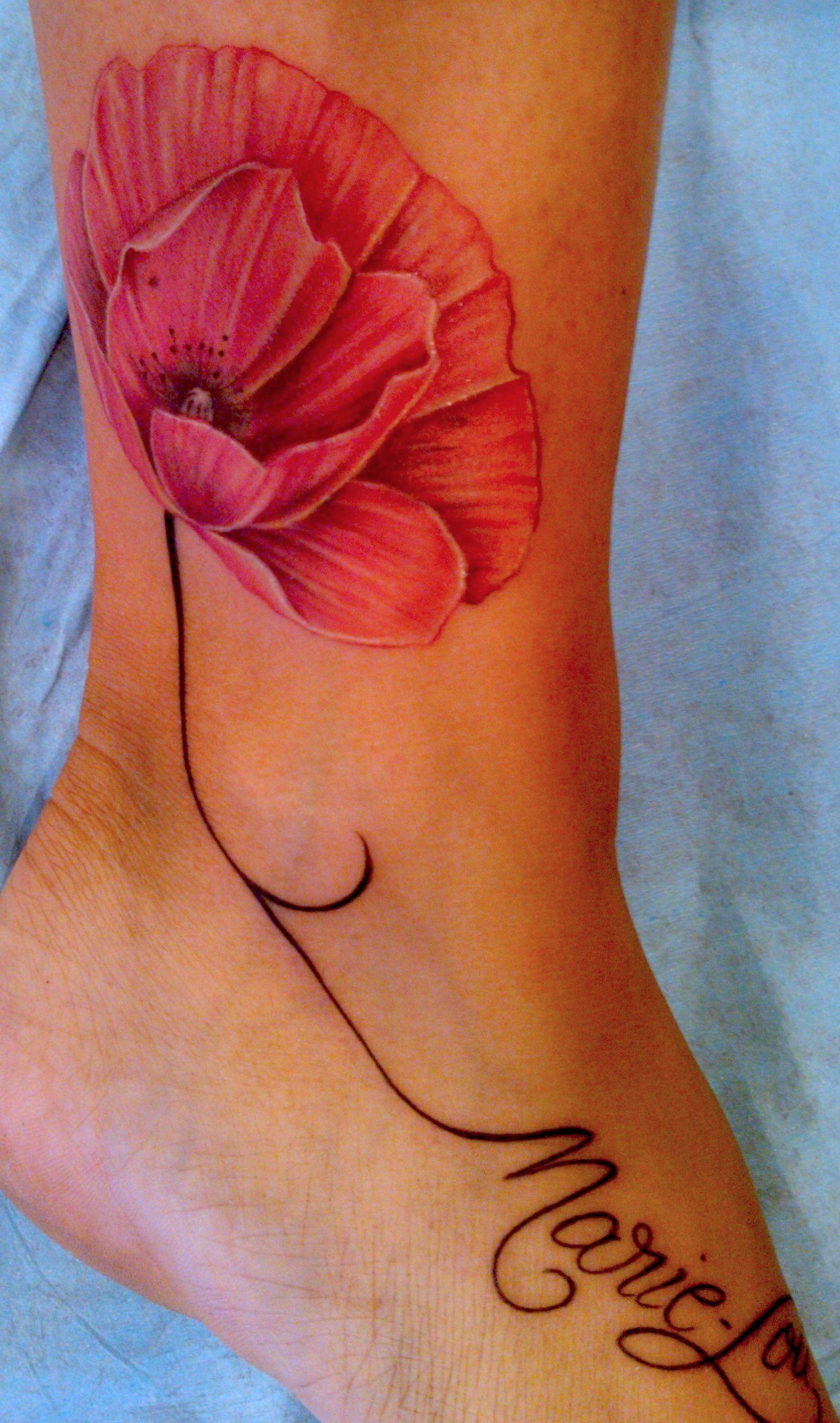 Joli Coquelicot Couleur Tattoo Tatouage Poppie Coquelicot