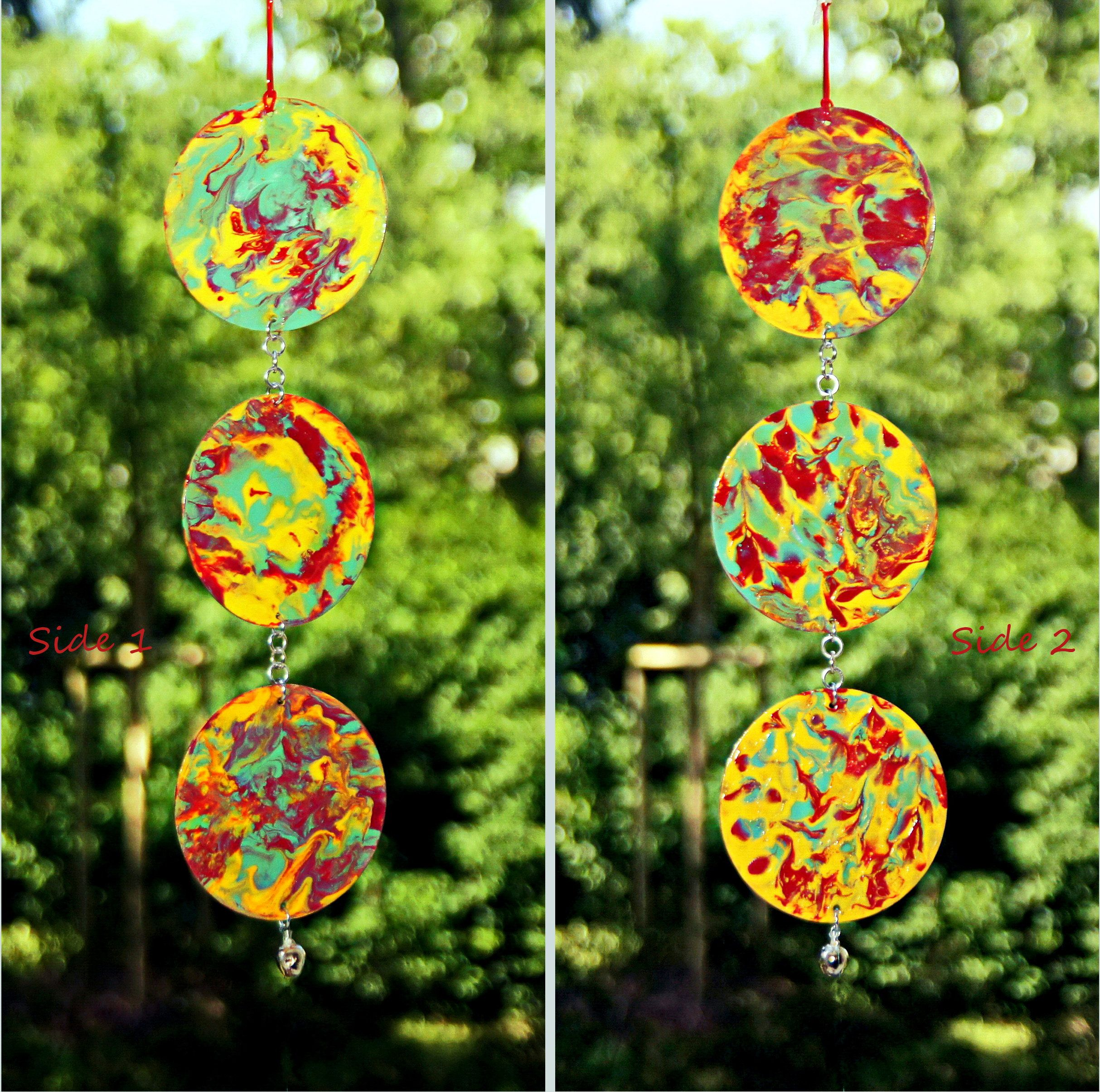 Homemade Whimsical Wind Chimes Sun Catcher Original Design