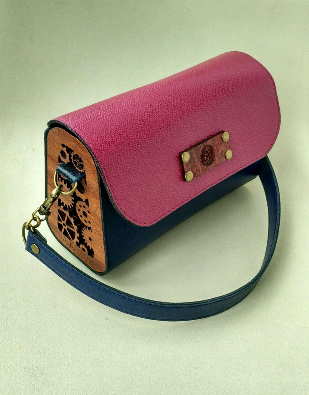 34a5a6e52338 Сумка из кожи и дерева Бордо . Женская сумка кожа – купить или заказать в  интернет
