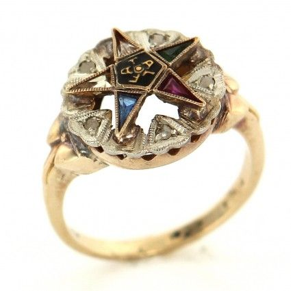 295 Vintage 10k Yellow Gold Diamond Masonic Eastern Star Ring Size 6 Portero Luxury Jewelry Star Ring Jewels