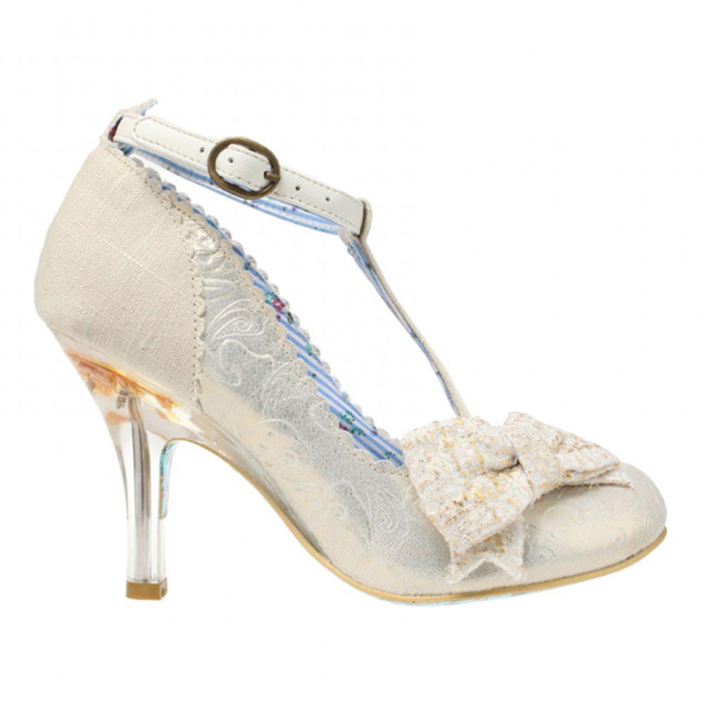 Irregular Choice Floxy Ivory Gold Vintage Style High Heel Wedding Shoes