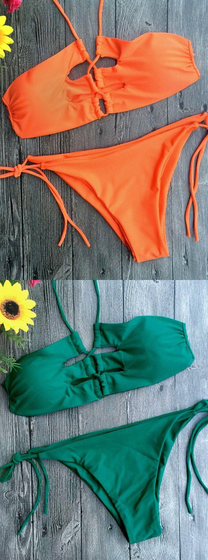 Bandage Lace-Up Orange Solid Bikini, Two Piece Sexy Fashion Bikini, Self-tie Strappy Sides Bottom,  High Leg Cut Bikini Bottom, Halter Front Crisscross Bikini Top 2017