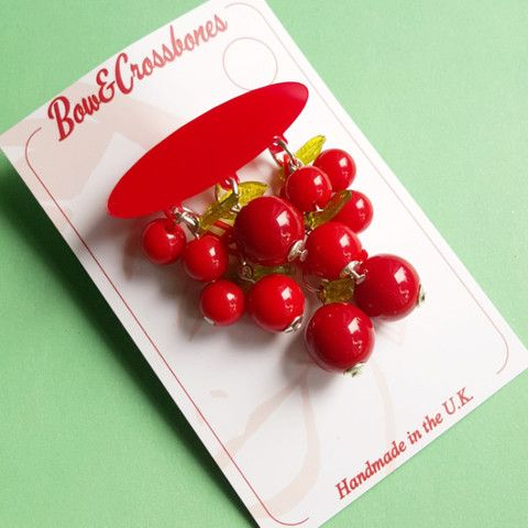 Cherry drop brooch - Red, , Brooches, Bow & Crossbones, Bow & Crossbones
