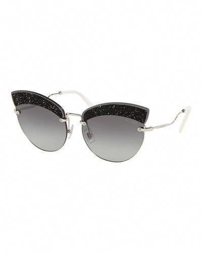 767eae9e43 Miu Miu Semi-Rimless Glittered Cat-Eye Sunglasses  MiuMiu